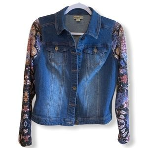 One World Jean Jacket Floral Print Knit Sleeves, S